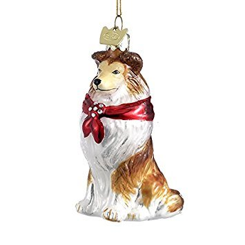 Kurt Adler Shetland Sheep Dog Noble Gems Collection Glass Ornament