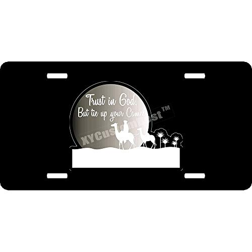 XYcustomBest Custom Black Metal Trust in God But Tie Up Your Camel License Plates Covers - 12