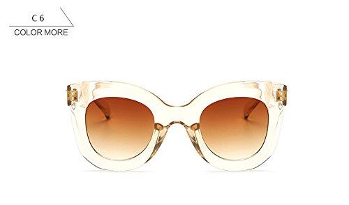 de femenino ojo moda Mujer Gafas la Vintage Retro de gafas ZHANGYUSEN sol UV400 Blackleopardbrown gato de de señoras Clearchampagne para qgpt1U