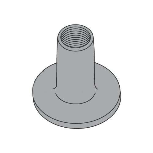1/4-20 Round Base Weld Nuts/No Projections/Steel/Plain / 9/16'' Barrel Height / 3/4'' Base Diameter (Carton: 1,000 pcs) by Newport Fasteners
