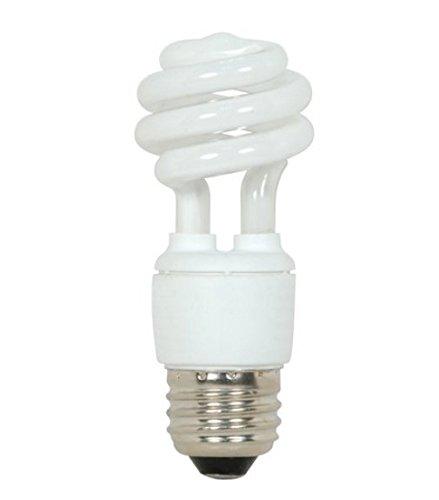 (Satco S5506 9 Watt T2 Mini Spiral Compact Fluorescent, Natural Light, 5000K, 82 CRI, Medium base (Pack of 12))