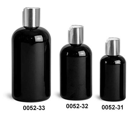 8 Oz. Black Plastic Boston Rounds Bottles with Silver Disc Top Caps (24 ()
