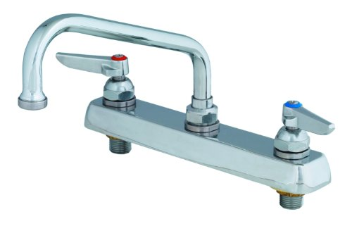 T&S Brass B-1122 Workboard Faucet with Deck Mount, 8-Inch Centers, 10-Inch Swing Nozzle and Lever - Brass Deck T&s Mount