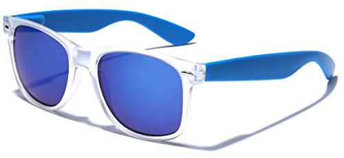 Colorful Retro Fashion Sunglasses - Translucent Clear Matte Frame - Color Mirrored Lenses - Clear & Blue