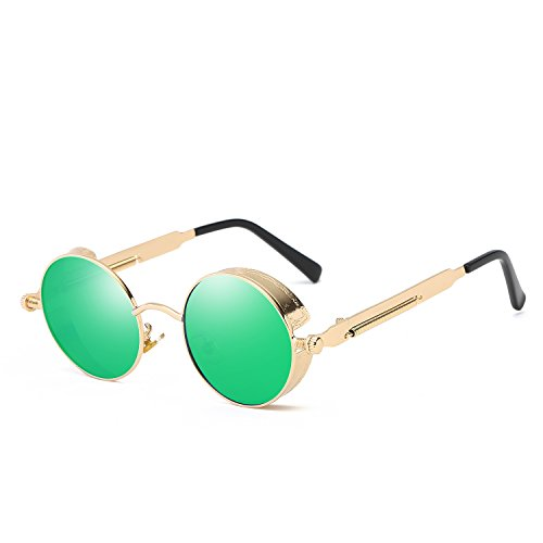 VeBrellen Men Gothic Hippie Retro Metal Round Circle Frame Cyber Goggles Polarized Steampunk Sunglasses (Gold Frame With Green Lens,C3, 48) ()
