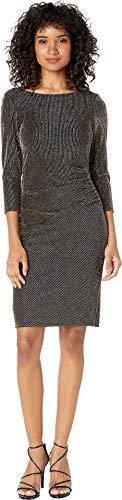 bebe Womens 3/4 Sleeve Cowl Back Dress Black/Gold 4 -