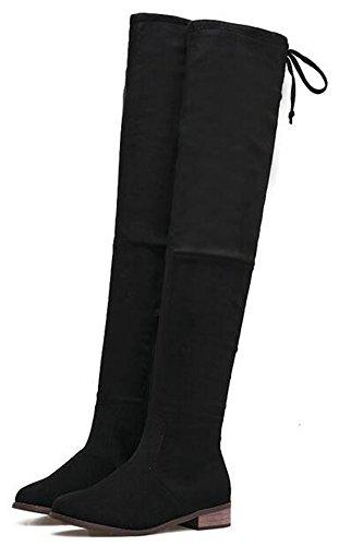 Idifu Vrouwen Sexy Lage Dikke Hak Faux Suede Rekbare Overknee Laarzen Dij Booties Met Rits Zwarte