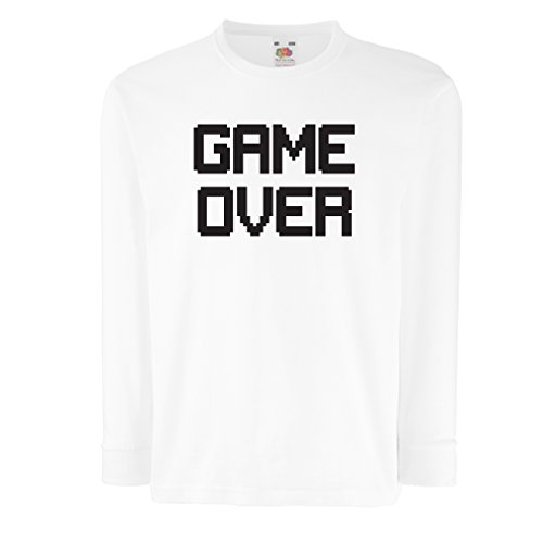 (T-Shirt For Kids Game Over! Vintage t Shirts Funny Gamer Gifts Gamer Shirt (9-11 Years White Black))