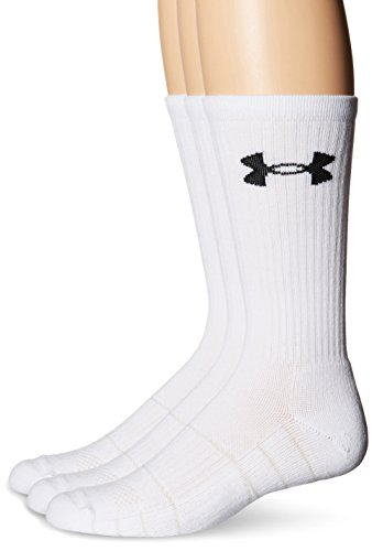 Under Armour Men's Elevated Performance Crew Socks (3 Pack), White, Large 3 Pack Crew Socks