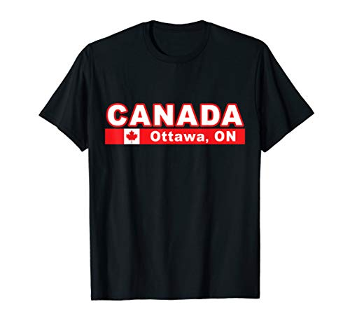 - Canada Flag and National Capital CIty of Ottawa T-Shirt