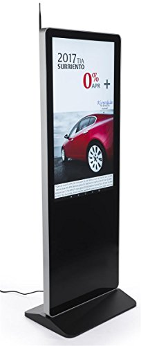 Displays2go Digital Poster Advertising Stand with Built-in Media Player – Black (SBXSNT43)