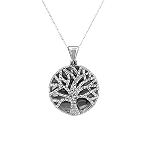 Bevilles Sterling Silver Cubic Zirconia Tree of Life Necklace XX9203/XX1989 Pendant