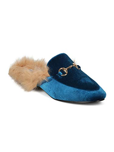 Alrisco Velvet Women IA18 Loafer Media Horsebit Mix Mule Lined Ocean Collection Cape by Fur Robbin FAfwqrF