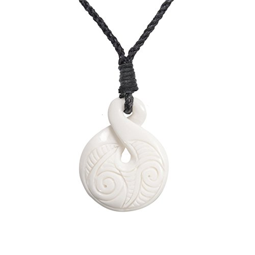 81stgeneration Women's Men's Hand Carved Bone Maori Pikorua Twist Spiral Pendant Necklace - Maori Bone Pendants