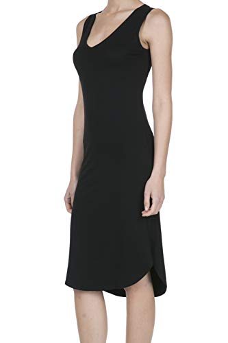 V-neck Tank Dress - 8037 Women's Jersey Sleeveless V-Neck Midi Tank Dress Black M