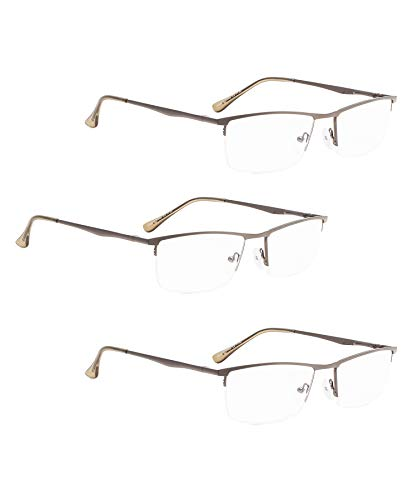 (READING GLASSES 3 pack Half-Rim Metal Readers (Gunmetal, 1.50) )