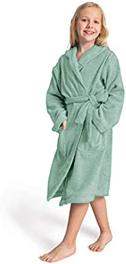 SIORO Robes for Kids, Hooded Terry Cotton Bathrobe for Girls and Boys, Shower Bath Pool Dressing Gown with Poc