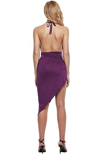 cooshional Vestido asimétrico de correa vestido de fruncido moderno atractivo de las mujeres Morado oscuro