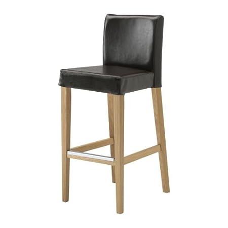 Awe Inspiring Ikea Henriksdal Bar Stool With Backrest Oak Frasig Dark Machost Co Dining Chair Design Ideas Machostcouk