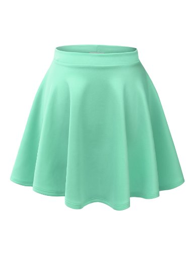 MBJ WB211 Womens Basic Versatile Stretchy Flared Skater Skirt XL ()