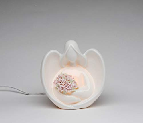 Fine Porcelain Inspirational Lighted Angel Holding Bouquet of Rose Flowers Night Light Figurine, 5-5/8