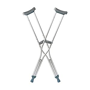 "DMI Lightweight Push-Button Adjustable Aluminum Crutches with Pads, Tips and Handgrips Accessories, Youth 4'6"" to 5'2"", Silver and Gray"