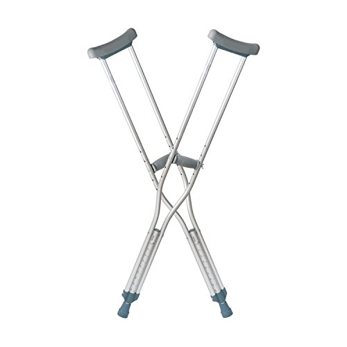 DMI Lightweight Push-Button Adjustable Aluminum Crutches with Armpit Pads