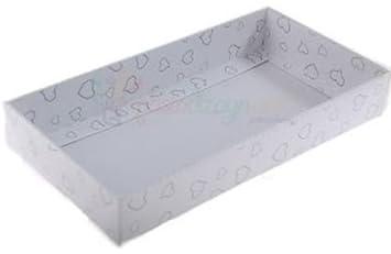 Caja de acetato blanco con corazón 10x20x3cm, 5 piezas: Amazon.es: Juguetes y juegos