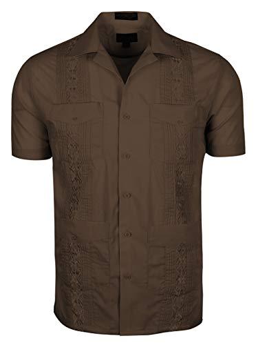 TrueM Men's Short Sleeve Cuban Guayabera Shirts (L, Brown)
