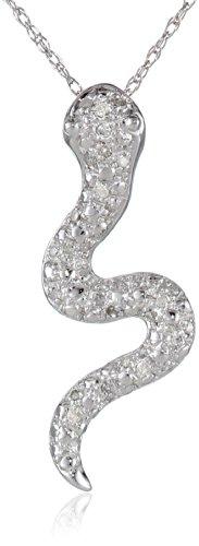 """10k White Gold Snake Pendant (1/10 cttw), 18"""""""