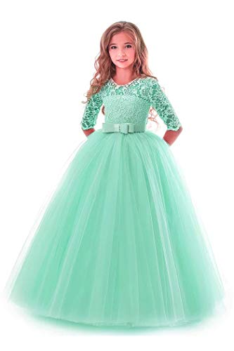 KISSOURBABY Long Dresses for Girls Size 2-3 Green Pageant Party Holiday Graduation Dress for Girls Dresses Ball Gowns for Girls Long Sleeve Birthday Fancy Tutu Dress (Green 110) ()