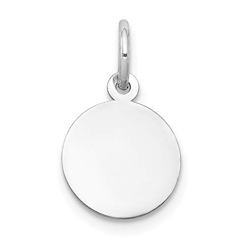Jewel Tie 14K White Gold Plain .009 Gauge Round Engravable Disc Charm - (0.67 in x 0.39 in)