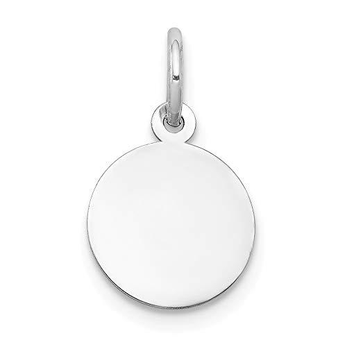 Engravable Round Disc Charm - Jewel Tie 14K White Gold Plain .009 Gauge Round Engravable Disc Charm - (0.67 in x 0.39 in)