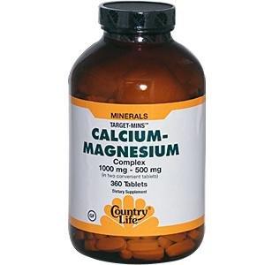 Country Life cible minutes Cal-mag Complexe, 1000 mg / 500 mg par 2 comprimés, 360-Count