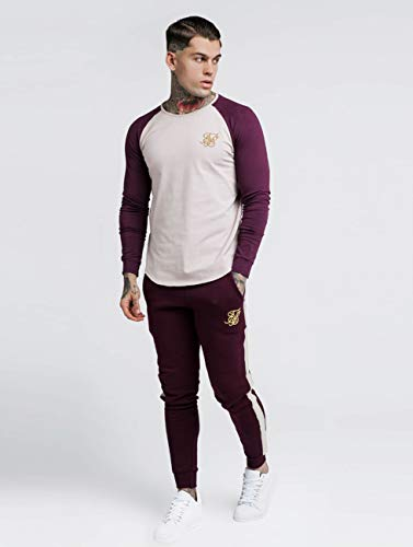 Gym Manga Sik Larga Silk Camisetas Raglan Rojo De Hombres WO4Bq0
