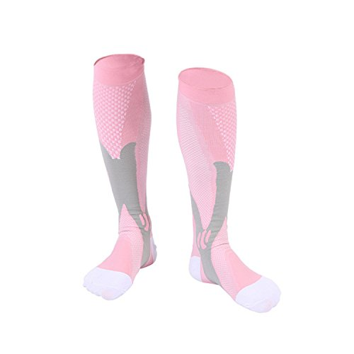Compression Socks For Men & Women 20-30 mmhg Compression Knee Stockings Support Stretch Magic Football Running Socks (S/M, Pink)
