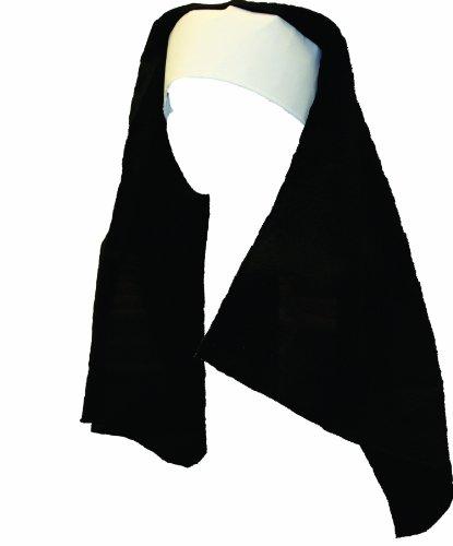 Alexanders Costumes Women's Deluxe Nun Headpiece, Black, One Size
