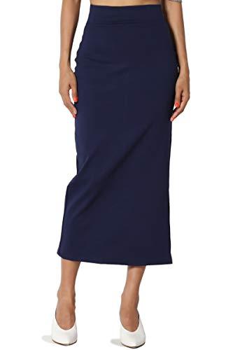 (TheMogan Women's Side Slit Ponte Knit High Waist Mid-Calf Pencil Skirt Navy)