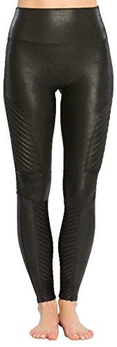 SPANX Women's Faux Leather Moto Leggings, Very Black, Small