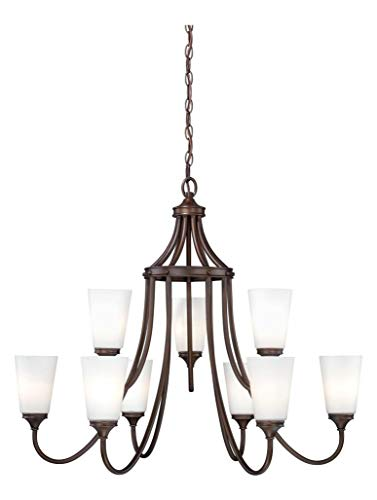 (Venetian Bronze Lorimer 9 Light Two Tier Chandelier with Frosted Glass Shades - 32.5 Inches Wide )