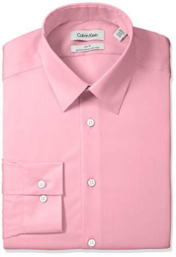 Calvin Klein Camisa de Vestir para Hombre, Corte Ajustado, sin Plancha, con Puntas de Espiga, Rosa Antigua, 16.5' Cuello...