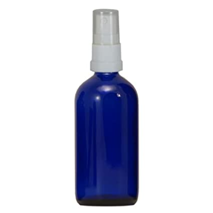 100 X Botellas farmacia 100 ml de cristal azul con blanco spray accesorio