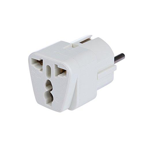 DBPOWER® Universal Reiseadapter Netzstecker-Adapter Reise-Konverter US UK zu EU (DE) Anschluss, Reisestecker / Travel Plug / Adapter Plug Universal auf DE und fuer die EU, Weiss