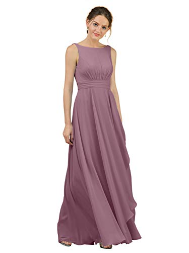 Alicepub A-Line Chiffon Bridesmaid Dress Long Party Evening Dresses Prom Gown Maxi, Mauve Mist, US2
