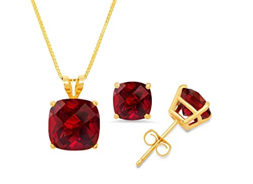 Certified 14k Yellow Gold Cushion-Checkerboard-Cut Garnet Pendant Necklace & Stud Earring Boxed Set, 18