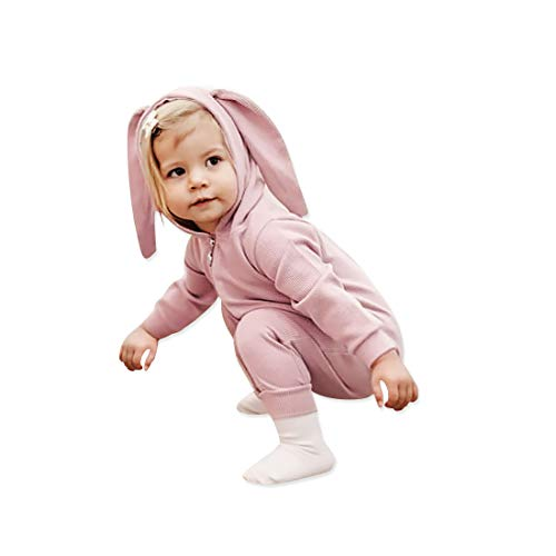 Simplee Kids Animal Bunny Baby Girl Easter Pajamas Long Ear Rabbit Hooded Romper with Zipper(Pink)