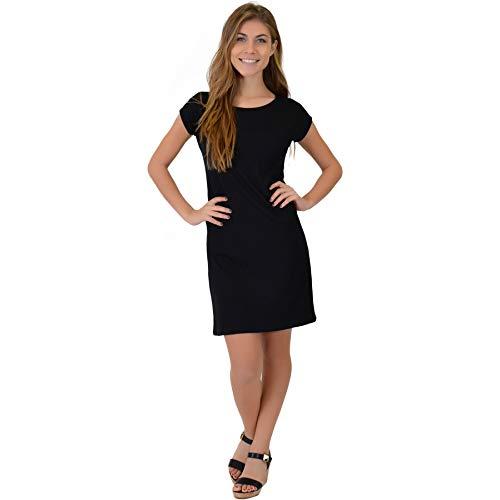 (Stretch is Comfort Women's Short Sleeve Boatneck Shift Dress (2X, Black))