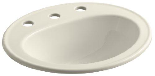 KOHLER K-2196-8-47 Pennington Self-Rimming Bathroom Sink, Almond (Self Rimming Almond)