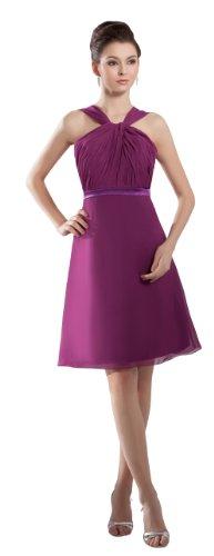 herafa p32164-4 Cocktail Dresses Romantic Style Halter Sleeveless Ruched Knee-Length Sheath Purple
