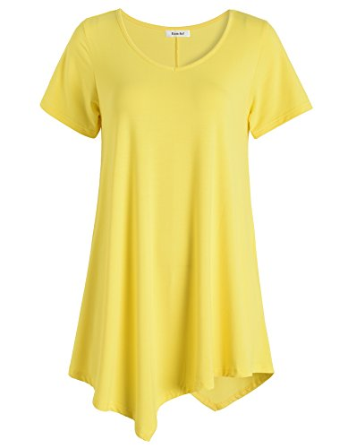 (Esenchel Women's V-Neck Swing Shirt Casual Tunic Top for Leggings 4X Yellow)
